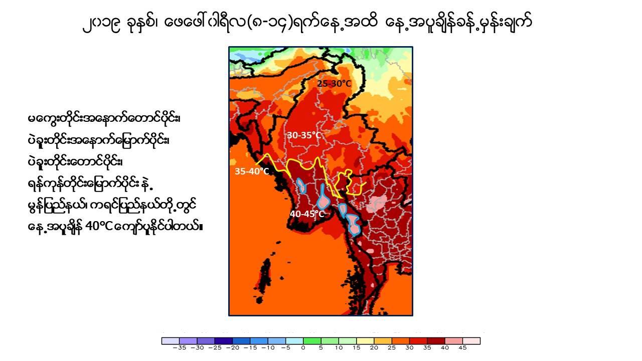 ၂၀၁၉ ခုနှစ် ဖေဖော်ဝါရီ (၈-၁၄) ရက်နေ့ထိ နေ့အပူချိန် ခန့်မှန်းချက်